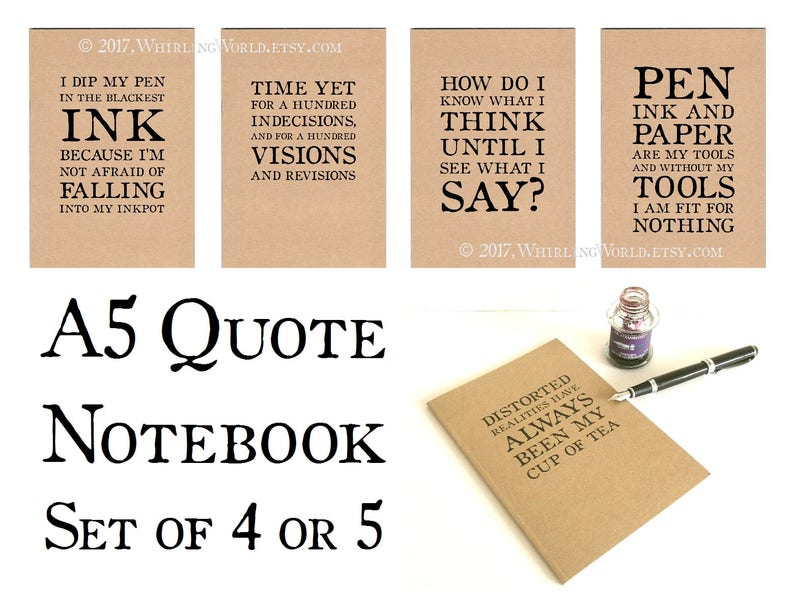 Set of Quote Journals A5 Notebooks  Literary Quotation Kraft image 0