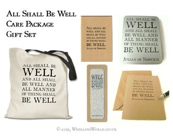 All Shall Be Well Care Package Gift Set   Typography Stationery Set in Cotton Tote Bag   recycled notebook, kraft card, bookmark, tin box