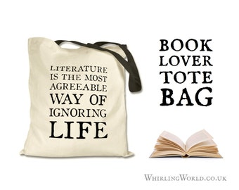 Book Lover Book Bag   Literary Quote Tote Bag for Reader - Bookish Gift for Librarian, Bibliophile Gift Idea   natural cotton eco shopper