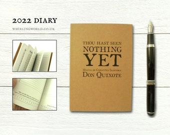 Book Lover Diary 2022   Literary New Year Gift - Monthly bookish quotes, A6 month to view planner   Eco friendly kraft agenda recycled paper