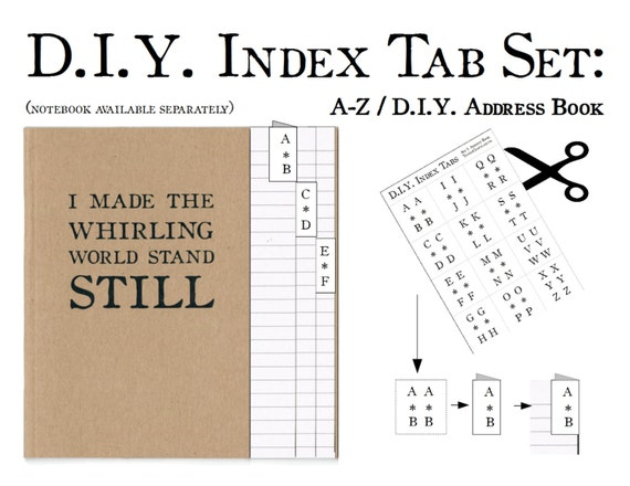 diy a z index tab sticker set labels to make your own etsy