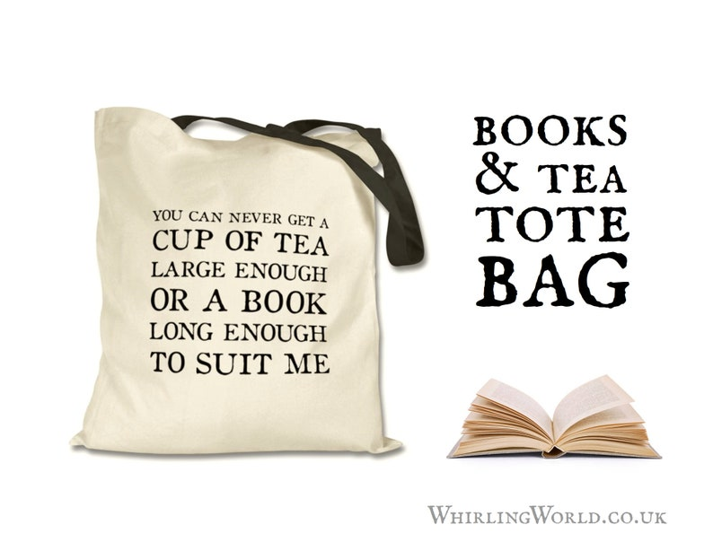 Books & Tea Tote Bag  C S Lewis Quote Book Lover Gift Set in image 0