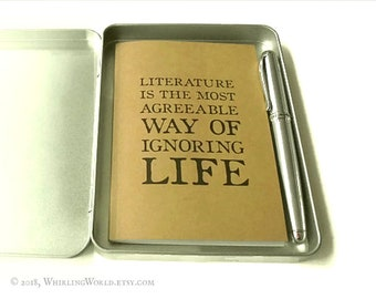 Reading Journal Gift Tin   Literary Quote Book Log + Fountain Pen & Storage Tin   Bookish Gift Set for Book Lover   Bibliophile Book Journal