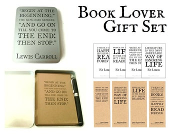 Book Lover Gift Set   Bookish Lewis Carroll Alice Quote Gift Tin containing Ruled Journal, Fountain Pen, Ex Libris Bookplates, & Bookmarks