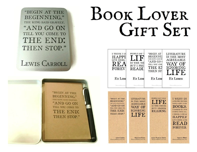 Book Lover Gift Set  Bookish Lewis Carroll Alice Quote Gift image 0