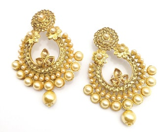 84725f2ab Handmade Indian Earrings Set Bridal Indian Jewelry Gold Plated Pearls  imitation and Alloy ,IndianJewellery