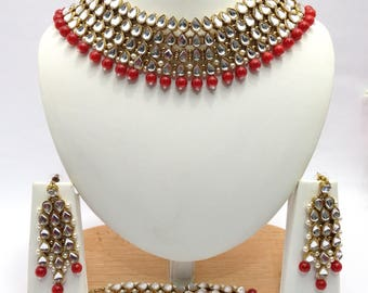 Handmade Indian Jewelry Bollwood Necklace Set With Glass Beaded Czech Gold Plated indian Jewellery Bollywood jewelry