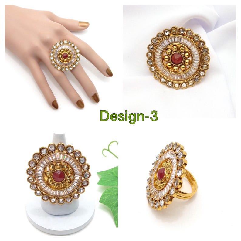 Adjustable Polki Finger Ring With Cubic Zirconia Indian Jewelry Handmade Indian Jewellery