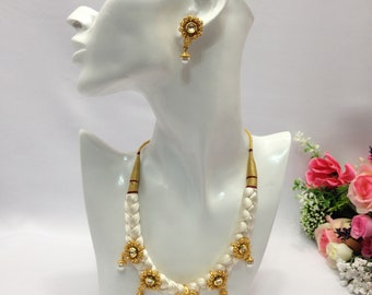 Handmade Indian Bridal Wedding Jewelry Polki Necklace Set with Earrings Indian Jewelry Indian Bollywood Jewelry
