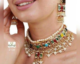 Handmade kundan Gulubandh Necklace Set with Earrings Indian Wedding Jewelry Indian jewelry Bollywood jewelry
