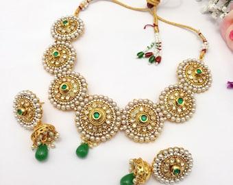 Handmade Polki Necklace Set with Jhumka Earrings Indian Wedding Jewelry Indian jewelry Bollywood jewelry