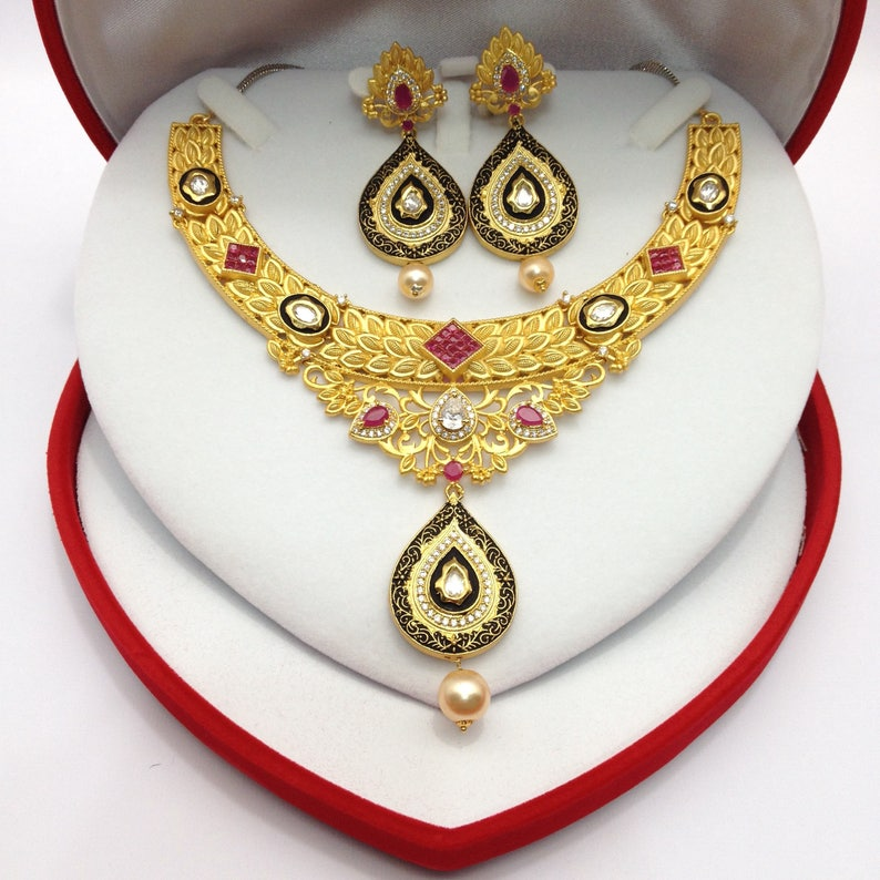 6f474589fb Indian Jewelry American Dimonds CZ Micro Gold Plated Cubic | Etsy