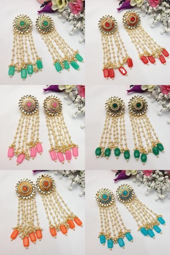 Handmade Indian Party Wear Earrings Wedding Jewelry Pakistani Etsy
