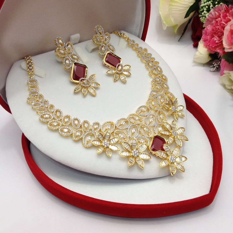 CZ American Dimonds Heavy Gold /& Rhodium Plated Cubic Zirconia Bridal Indian Jewelry Wedding Necklace Set Handmade indian Jewellery