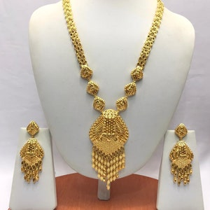 Handmade Indian Bridal Wedding Jewelry 22ct Heavy Gold Plated Necklace Set with Earrings Indian Jewelry Indian Bollywood Jewelry