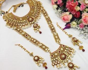 Handmade 7 Piece Bridal Jewelry Polki Bridal Necklace Set Indian Jewelry Bridal Jewellery Set Pakistani jewelry