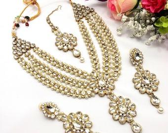 Handmade Indian Jewellery Patti Set Rani Haar Bollywood Necklace Set Indian Jewelry