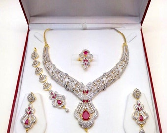 Ruby Emerald and CZ American Dimonds Gold Plated Cubic Zirconia Indian Jewelry Bridal Jewellery Necklace Set Indian Jewellery Indian Jewelry