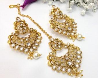 Handmade Earrings with Cubic Zirconia Indian Wedding jewelry Pakistani Bollywood Jewelry Earrings indian jewellery