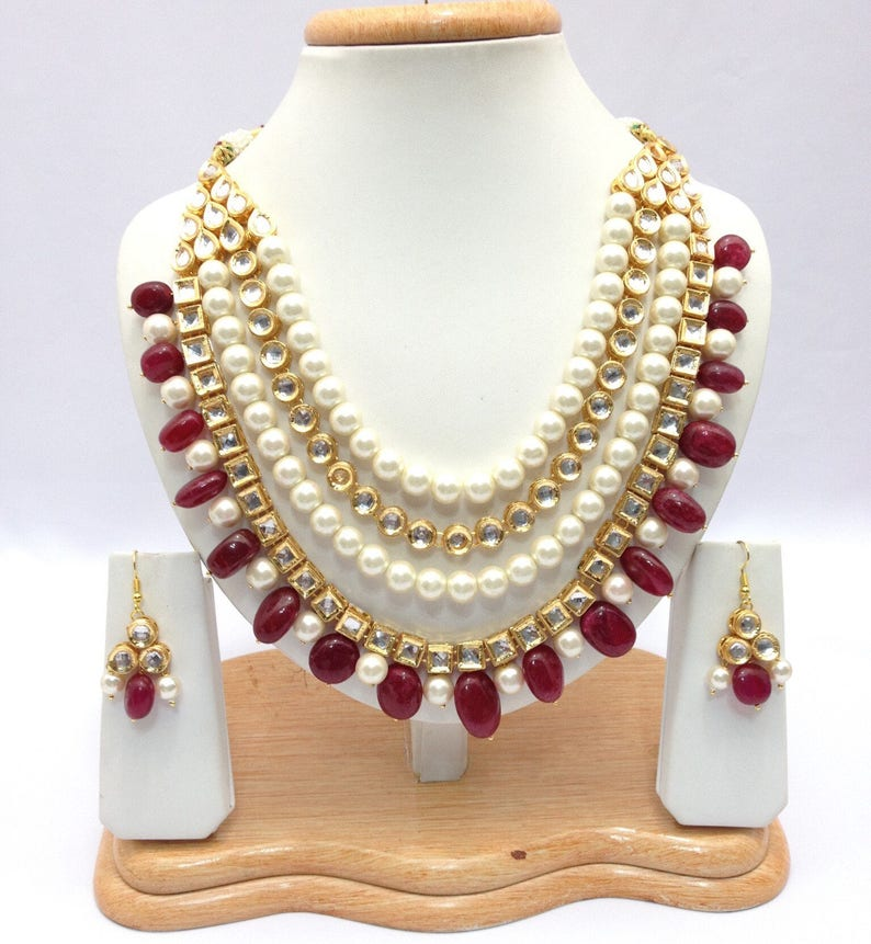 c80c0efeb4560 Hand Crafted Indian Jewelry Kundan Necklace Set With pearl imitation One  Gram Gold Plated indian Jewellery