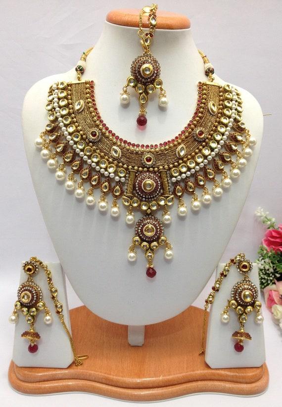 Handmade Polki Bridal Necklace Set With Earrings And Tika Etsy