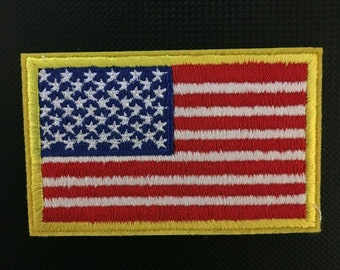 AMERICAN FLAG EMBROIDERED 200 PATCH GOLD BORDER USA US United State