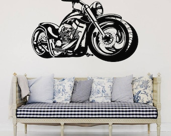 Wall Decal motorcycle decals motorbike decal harley wall decal harley davidson wall decal motor bike vinyl sticker wall art t2105  sc 1 st  Etsy & Wall Decal motorcycle decals motorbike decal harley wall decal