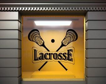 Lacrosse Wall Decal Lacrosse Logo Home Decor Sports Wall Decal Lacrosse  Sticker Kids Teens Room Sports Decor t2029