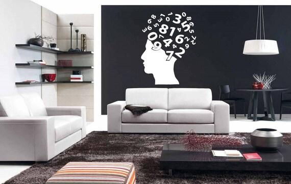 Wall Decal Sticker Bedroom Head Numbers Brain Smart School Boys Girls  Teenager Room bo2900