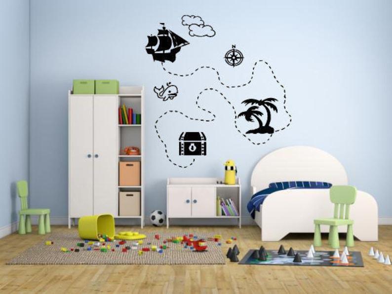 Wall Decal Sticker camera da letto pirata mappa tesoro oro isola Cartoon  Kids ragazze ragazzi adolescente camera 691b