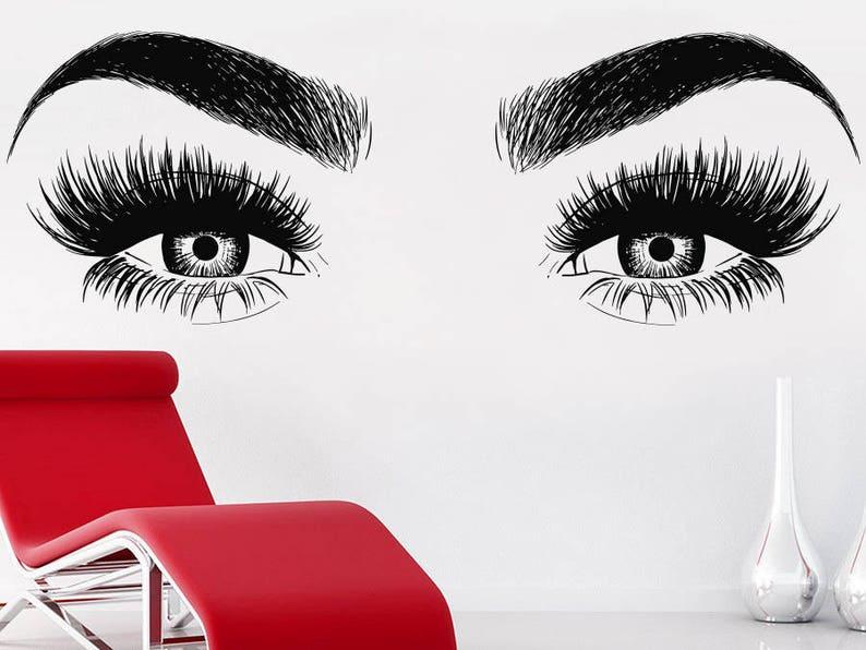 eyelashes wall decal eyelash decal lashes decal beauty salon | etsy