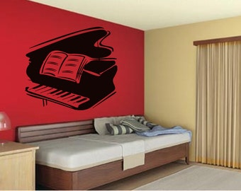 Wall Decal Sticker Bedroom piano music book melody kids musician room 109b