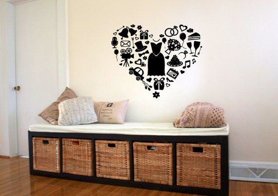 Wall Decal Sticker camera da letto cuore Haifa vestiti divertenti ragazze  Camera Home Decor 361b