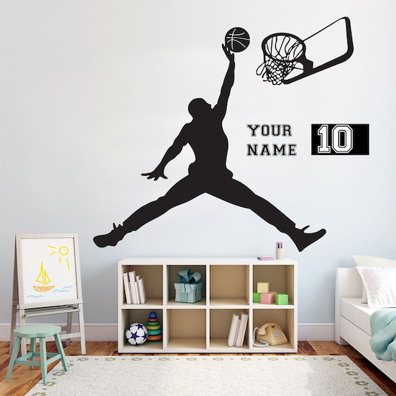 basketball michael jordan wall decal basket wall art stickers | etsy