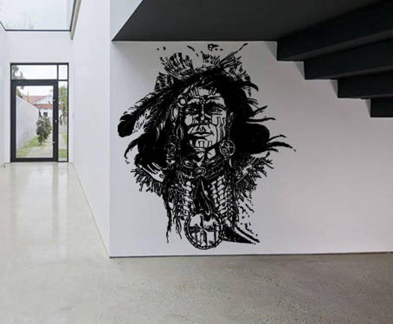Wall Window Decal Sticker Native Indian Girl Wolf  Leader Head Feather Head Tribal Boys Kids Teenager Room Decor 1088b