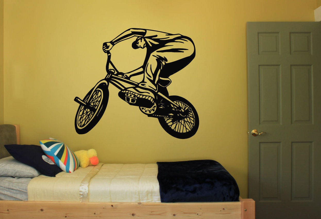 Wall Decal Sticker Bedroom bmx bicycle bike jump Kids Girls | Etsy
