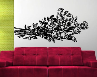 Wall Decal Sticker Bedroom roses bouquet flowers beautiful 130b