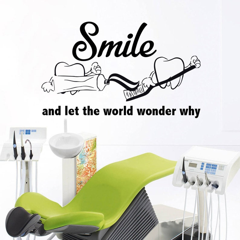 dental clinic quote wall decal dentist smile wall art stickers | etsy