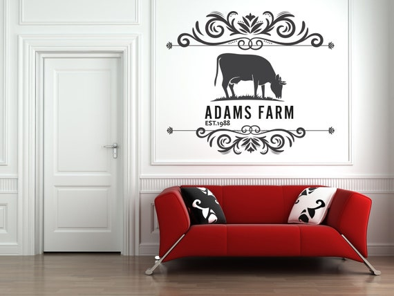 family farm name wall decal cow farm decals personalized | etsy