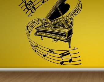 Wall Decal Sticker Bedroom piano music notes book melody kids musician room 110b