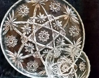 1960's Vintage Early American Prescut Glass Serving Platter and Bowl, Vintage Clear Glass, Star of David Design Platter and Matching Bowl