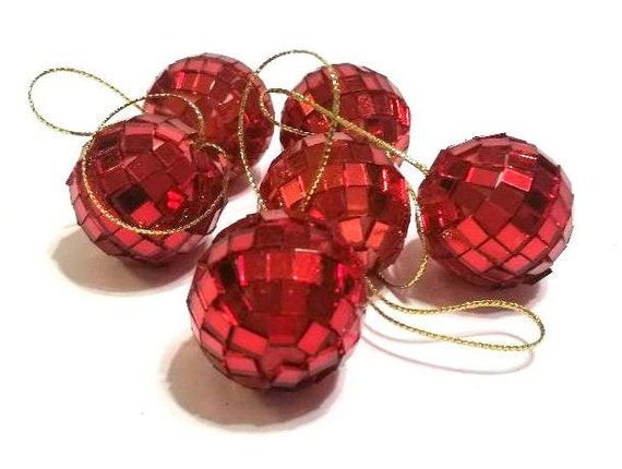 Christmas Disco Ball.6 One Inch Mini Red Disco Ball Ornaments For Small Tree Christmas Wedding Mini Disco Balls Red Mirrored Ornaments Red Wedding Decor
