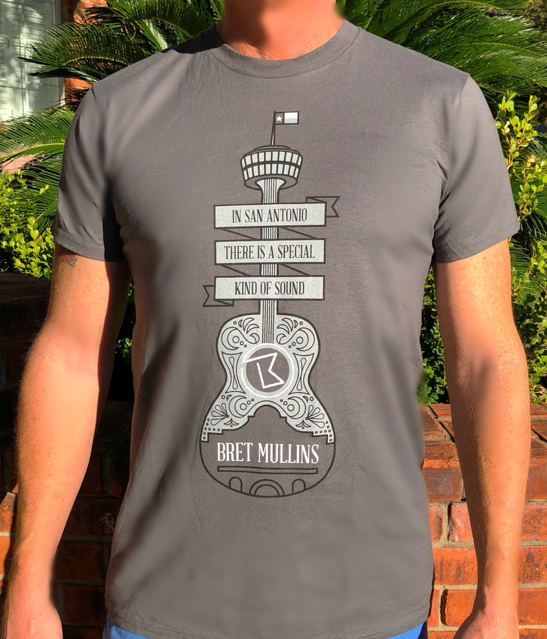 Gray Mens Guitar San Antonio T-shirt image 0