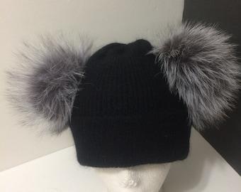 d006ec2eaf2 Cashmere Beanie Double Pom pom Hat Black Beanie with Double
