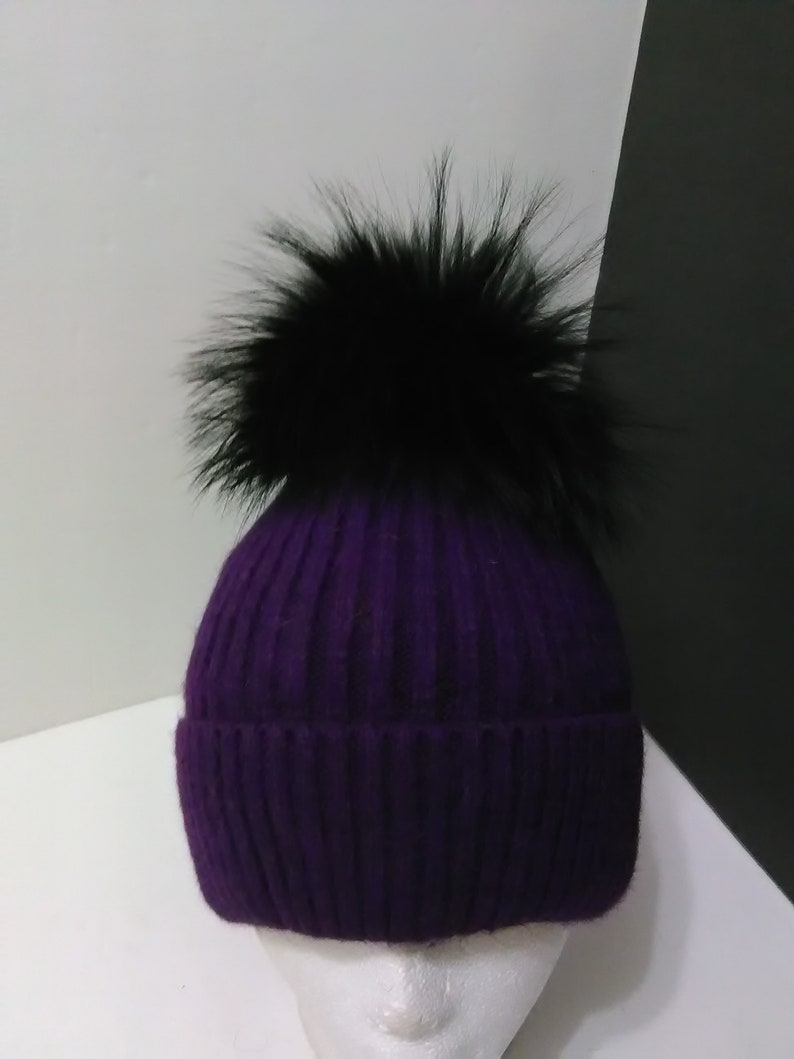 2ba14314880 Fur Pom pom Hat Wool Ribbed Knit Beanie Purple with