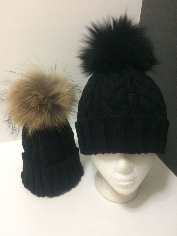 Mommy and Me Hat Mom and Baby Fur Pom pom Beanies Black  6c91040ebe3