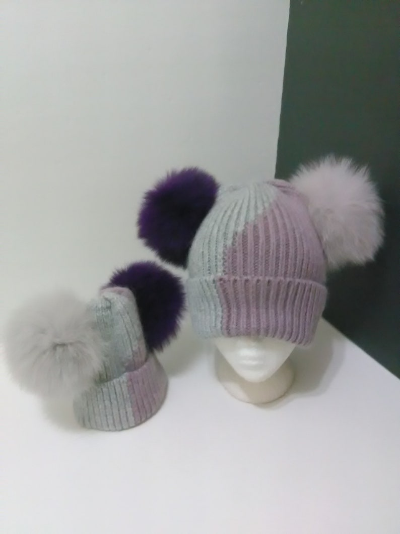 b03e7d5d9 Mum and Me Beanies, Mommy and Baby Hat, Double Pom pom Angora Hats, Gray  and Purple Beanie Hat with Removable Real Genuine Fox fur Pom pom.
