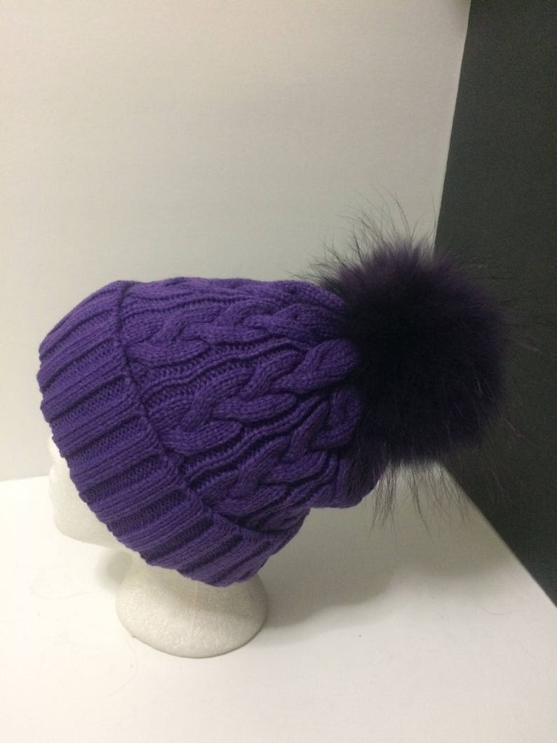 c8d2d768bb4 Fur Pom pom Hat Purple Beanie with removable Large Real