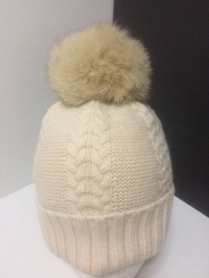 cb3107948f7200 Pom pom Beanie Cashmere/Wool Cream Beanie Hat with Removable | Etsy