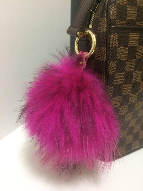 Large Fur Bag Keychain Fuschia Hot Pink Rose Large Real  b4caa5df28
